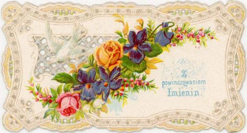 """XIX-wieczny bilecik wizytowy """"Z powinszowaniem imienin"""""""
