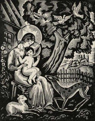 Grafika w typie ludowym przedstawiająca Matkę Boską z Jezusem wśród zwierząt  została wykonana w technice drzeworytu ok. 1930 r.