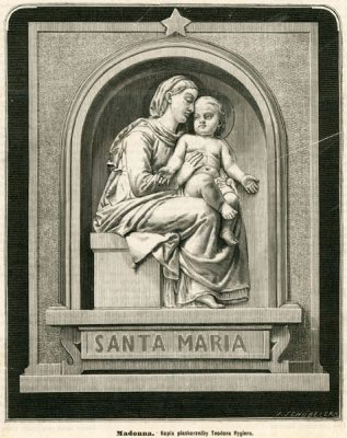 Grafika z przedstawieniem Madonny z Dzieciątkiem wg płaskorzeźby Teodora Rygiera