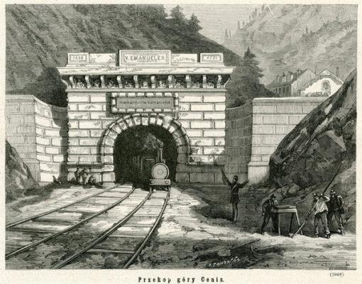 Grafika przedstawiająca wybudowany w 1871 roku tunel kolejowy w górze Cenis oraz wyjeżdżający z niego pociąg. Grafika to drzeworyt sztorcowy autorstwa A. Zajkowskiego.