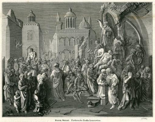 Grafika przedstawia przemawiającego do Izraelitów proroka Samuela. Rycina z 1870 roku wykonana przez J. Styfi wg płaskorzeźby Teofila Lenartowicza.