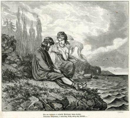 Grafika przedstawiająca scenę z Odysei Homera wg rysunku Juliusza Kossaka