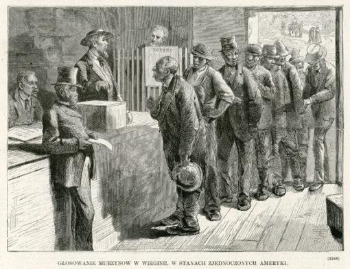 Grafika ze scena głosowania Murzynów w wyborach. Rycina z lat 1870-tych wykonana w technice drzeworytu sztorcowego.
