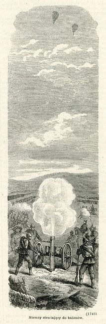 Grafika przedstawia scenę z wojny francusko-pruskiej: Niemców strzelających z armaty do balonów. Rycina z lat 1870-tych wykonana w technice drzeworytu sztorcowego.