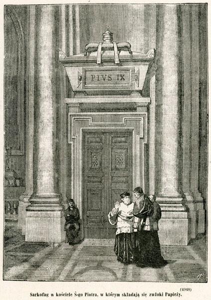 Grafika przedstawia fragment bazyliki św. Piotra w Rzymie z sarkofagiem Piusa IX. Rycina z 1873 roku wykonana w technice drzeworytu sztorcowego.