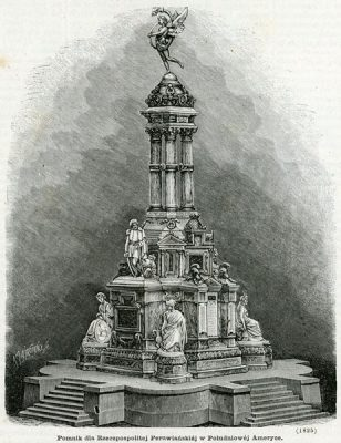 Grafika przedstawia pomnik dla Rzeczpospolitej Peruwiańskiej wykonany przez Cypriana Godebskiego w 1869 roku. Rycina z lat 1870-tych roku wykonana w technice drzeworytu sztorcowego przez A. Zajkowskiego.