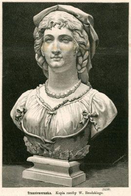 Grafika z popiersiem dłuta polskiego rzeźbiarza Wiktora Brodzkiego. Rycina z 1878 roku wykonana w technice drzeworytu sztorcowego przez J. Holewińskiego.