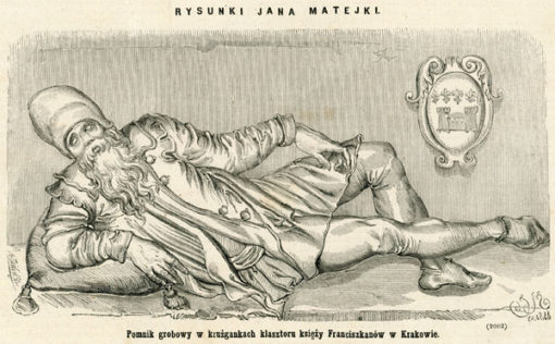 Grafika z nagrobkiem z krużganków kościoła Franciszkanów w Krakowie wg rysunku Jana Matejki. Rycina z 1871 roku wykonana w technice drzeworytu sztorcowego przez A. Zajkowskiego.