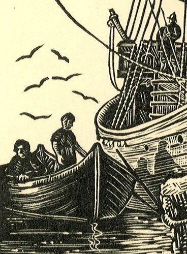 przedstawiający statek nordycki wg stempla miasta Dover