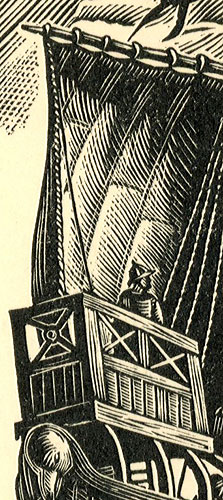 przedstawiający francuski statek krzyżowców z XII wieku.