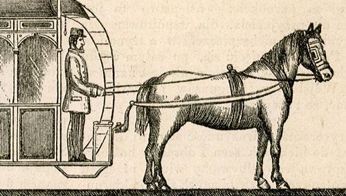 przedstawiająca wynalazek techniczny: tramwaj zawieszony nad drogą prowadzony przez konia