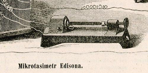 przedstawiająca wynalazek techniczny: Mikrotasimetr Edisona.