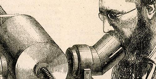 przedstawiająca aparat fonograficzny oraz posługujacych się nim profesorów Tyndalla i Preece'a.
