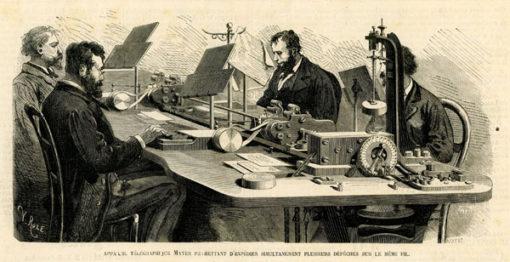 Francuska grafika w technice drzeworytu sztorcowego wykonana w 1875