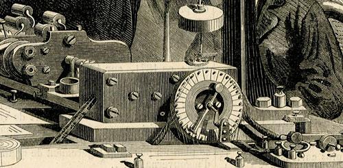 przedstawiająca aparat telegraficzny umożliwiający wysyłanie wielu depeszy równocześnie.