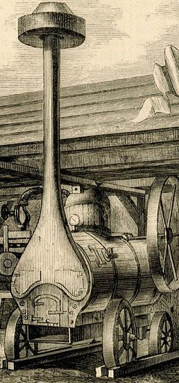 przedstawiająca niezwykłe maszyny rolnicze prezentowane na wystawie w Warszawie. Rycina wykonana wg rysunku Dymitrowicza.