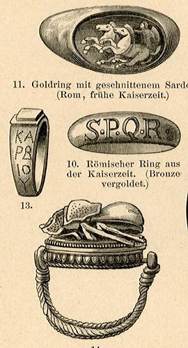 przedstawiająca pierścienie i obrączki różnych epok