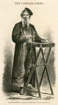Grafika z lat 1870-tych r. przedstawiająca Żyda grającego na cymbałach. Grafika wg fotografii Beyera wykonana została w technice drzeworytu sztorcowego jako ilustracja do Tygodnika Ilustrowanego