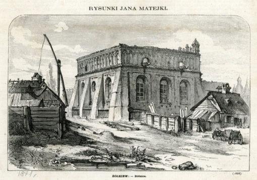 Grafika z 1871 r. przedstawiająca synagogę w Żółkwi. Grafika wg rysunku Jana Matejki wykonana została w technice drzeworytu sztorcowego jako ilustracja do Tygodnika Ilustrowanego