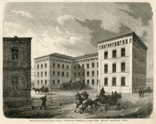 Grafika przedstawiająca gmach główny fabryki tytoniu i tabaki Leopolda Kronenberga w Warszawie od strony wjazdu. Rycinę wykonał Edward Gorazdowski wg. rysunku Ksawerego Pillatiego w latach 1870-tych.
