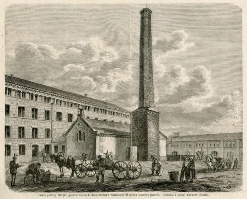 Grafika przedstawiająca gmach główny fabryki tytoniu i tabaki Leopolda Kronenberga w Warszawie od strony maszyny parowej. Rycina powstała na podstawie rysunku Ksawerego Pillatiego w latach 1870-tych.