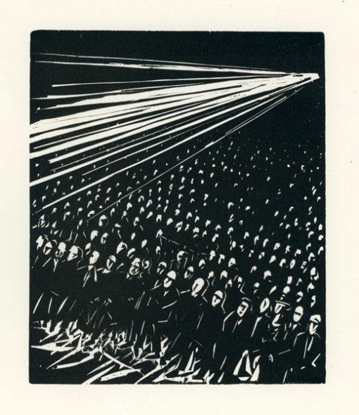 Rycina wykonana techniką drzeworytu przez Jerzego Bandurę (1915 - 1987). Grafika przedstawia wypełnioną widzami sale kinową podczas seansu.