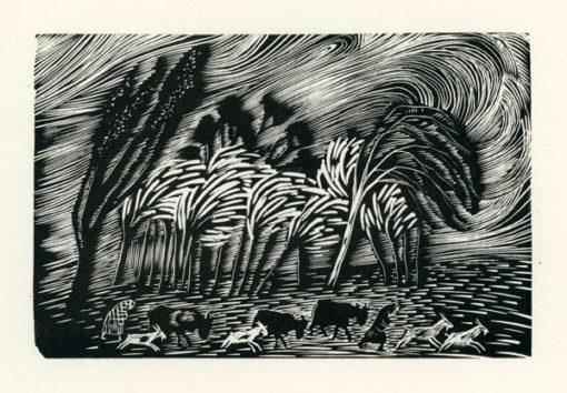 Rycina wykonana techniką drzeworytu przez Stefanię Dretler-Flin (1909 - 1994). Grafika przedstawia kobiety i zwierzęta uciekające przed burzą.
