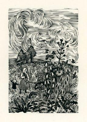Rycina wykonana techniką drzeworytu przez Stefanię Dretler-Flin (1909 - 1994). Grafika przedstawia kobiety pracujące na polu wśród fantazyjnych kwiatów i chmur.