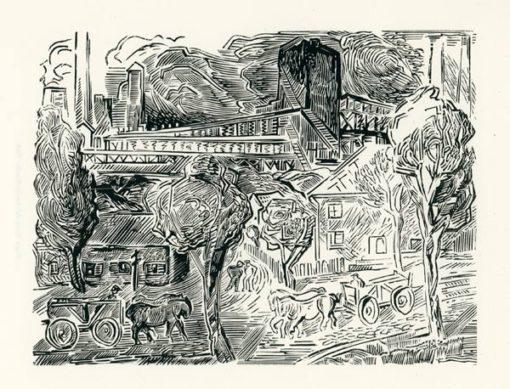 Rycina wykonana techniką drzeworytu przez Bognę Krasnodębską-Gardowską (1900-1986). Grafika przedstawia industrialny pejzaż Śląska.