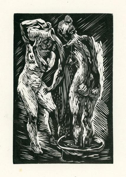Rycina wykonana techniką drzeworytu przez Helenę Krażowską-Knotową (1911–1992). Grafika przedstawia dwie kąpiące się kobiety.