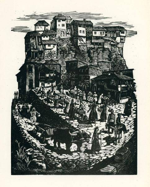 Rycina wykonana techniką drzeworytu przez Helenę Krażowską-Knotową (1911–1992). Grafika przedstawia targ w bułgarskim miasteczku.