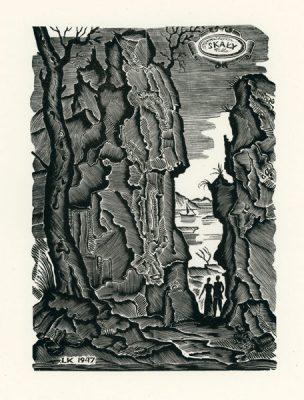 Rycina wykonana techniką drzeworytu przez wileńsko-krakowskiego grafika Leona Kosmulskiego (1904-1952). Grafika przedstawia pejzaż ze skałami.