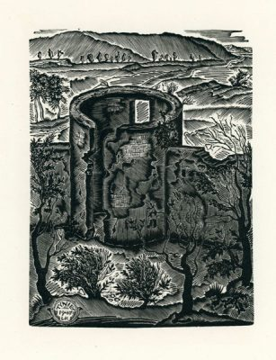 Rycina wykonana techniką drzeworytu przez wileńsko-krakowskiego grafika Leona Kosmulskiego (1904-1952). Grafika przedstawia ruiny zamku w Tyńcu.