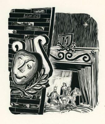 Grafika wykonana techniką drzeworytu przez grafika Adama Młodzianowskiego (1917-1985). Rycina przedstawia symbole teatru oraz fragment sceny.