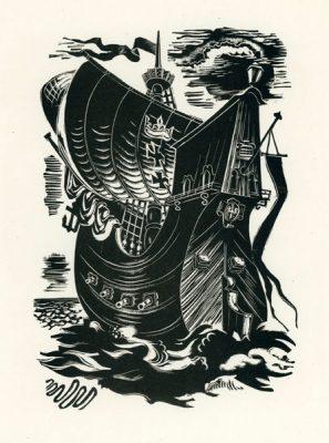 Grafika wykonana techniką drzeworytu przez grafika Adama Młodzianowskiego (1917-1985). Rycina przedstawia polski statek z herbem gdańska.