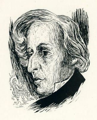 Grafika wykonana techniką drzeworytu przez grafika Stanisława Töpfera (1917-1975). Rycina przedstawia portret Fryderyka Chopina.