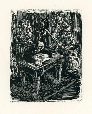 Grafika wykonana techniką drzeworytu przez grafika Stanisława Töpfera (1917-1975). Rycina przedstawia kolekcjonera przy stole oglądającego przez lupę rysunek.
