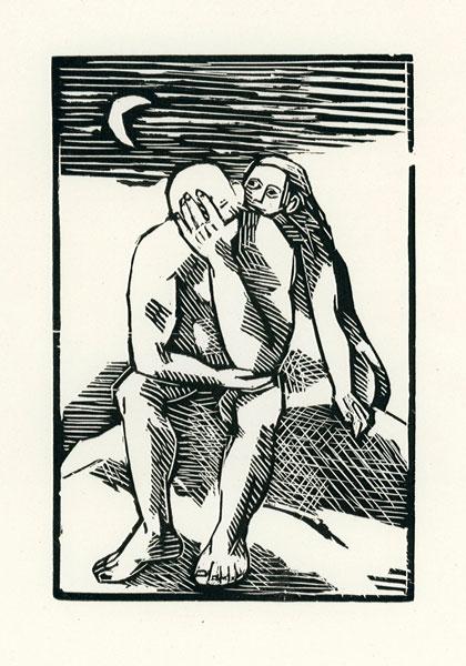 Grafika wykonana techniką drzeworytu przez grafika i malarza Mieczysława Wejmana (1912-1997)