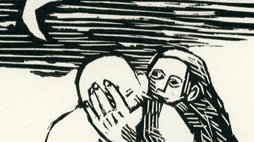 współtwórcę Międzynarodowego Biennale Grafiki. Rycina przedstawia naga kobietę i mężczyznę w świetle księżyca.