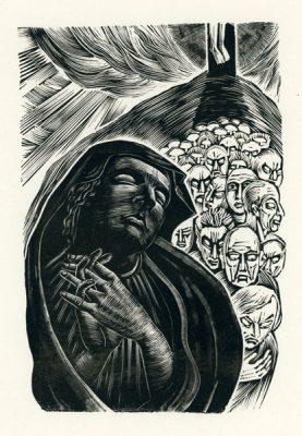 Grafika wykonana techniką drzeworytu przez krakowsko-wileńską artystkę Krystynę Wróblewską (ur. 1904