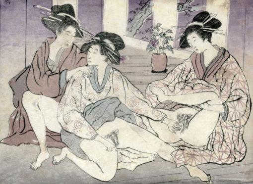 Grafika japońska wykonana w XIX wieku w technice barwnego drzeworytu na cienkiej bibule.