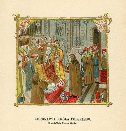 Grafika wykonana w technice litografii z przedstawieniem jednej z miniatur XVI-wiecznego Pontyfikału Erazma Ciołka. Efektownie wykonana grafika pochodzi z I poł. XX wieku.