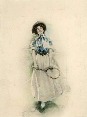 Grafika podmalowywana akwarelą przedstawiająca kobietę na korcie tenisowym z rakietą w rękach. Grafika została wykonana na przełomie XIX i XX wieku