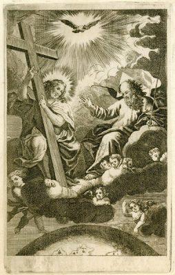 Barokowa grafika w technice miedziorytu została powstała w połowie XVIII wieku i przedstawia Trójcę Świętą królująca nad Ziemią.