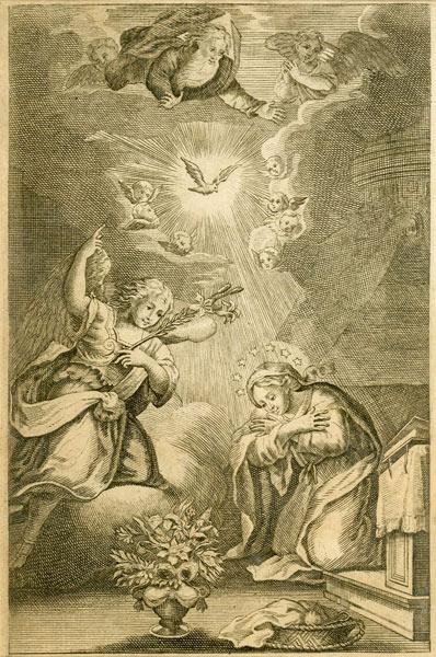 Barokowa grafika w technice miedziorytu została powstała w połowie XVIII wieku i przedstawia Matkę Boskę której Archanioł Gabriel przekazuje dobra nowinę.