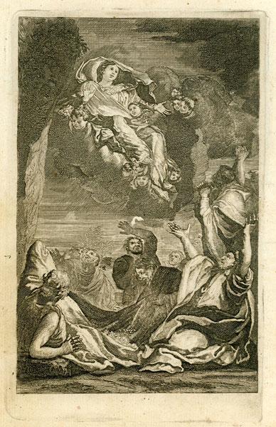Barokowa grafika w technice miedziorytu została powstała w połowie XVIII wieku i przedstawia Wniebowzięcie Najświętszej Maryi Panny.