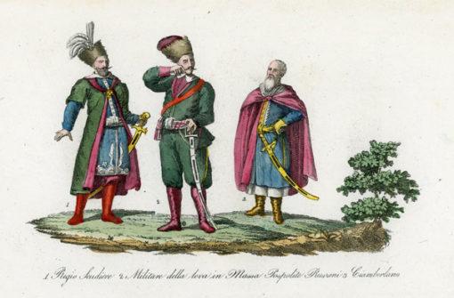 Oryginalny staloryt z przedstawieniem strojów koniuszego królewskiego