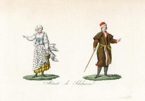 """Oryginalny staloryt """"Abitanti di Szkalmierz"""" z przedstawieniem strojów mieszkańców Szkalmierza. Grafika z 1831 r."""