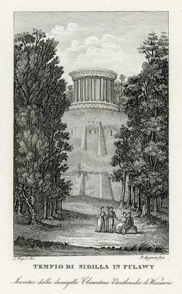 """Oryginalny miedzioryt """"Tempio di Sibilla in Pulawy"""" z przedstawieniem puławskiej świątyni. Grafikę wykonał Zygmunt Vogel w 1831 r."""