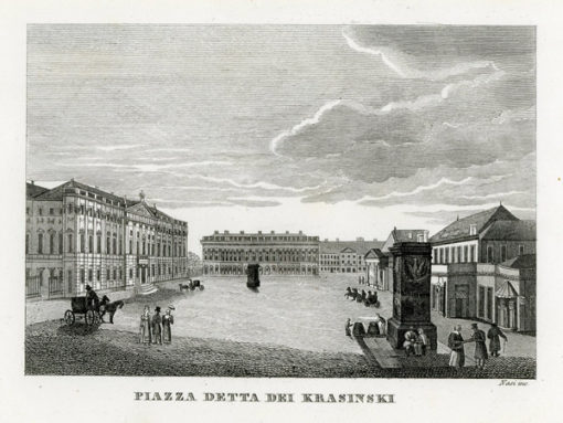 """Oryginalny miedzioryt """"Piazza detta dei Krasinski"""" z przedstawieniem zabudowy placu Krasińskich w Warszawie. Grafika sygnowana """"Nasi inc"""" powstała w 1831 r."""